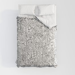 Graffiti Black and White Pattern Doodle Hand Designed Scan Comforters