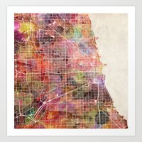 chicago map Art Prints featuring Chicago map by MapMapMaps.Watercolors