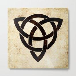 Celtic knot on old paper Metal Print