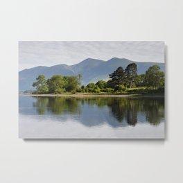 Tree reflections on Derwent Water and Skiddaw mountain range. Lake District, Cumbria, UK Metal Print