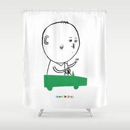 A man in a car Shower Curtain