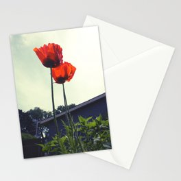 Red Poppies Flowers Color Photo Stationery Cards