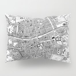 Vintage Map of Dublin Ireland (1797) BW Pillow Sham