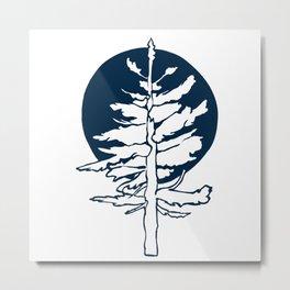 Evergreen Tree in the Moonlight Metal Print