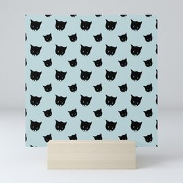 Bussie - the cute cartoon kitten. Blue pattern Mini Art Print