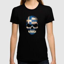 Dark Skull with Flag of Greece T-shirt