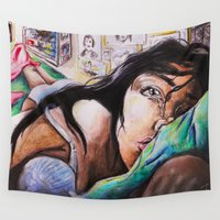 alone Wall Tapestries featuring Alone by Amy V