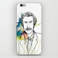 anchorman iPhone & iPod Skins featuring Ron Burgundy, Anchorman of Legend by AnnieInk