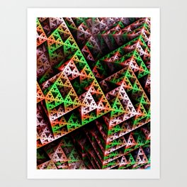 Pink & Green 3D Sierpinski Triangle Fractal Art Print Art Print
