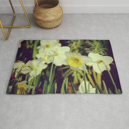 White yellow Narcissus or Daffodils - Botanical Photography Rug