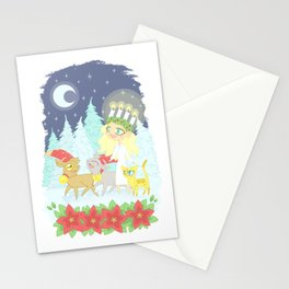 Lusse Bride, Saffron the Cat, and the Yule Goats Stationery Cards