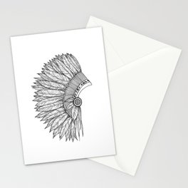 Native Feather Headdress - ink illustration Stationery Cards