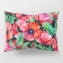 Plenty of Poppies - black Pillow Sham