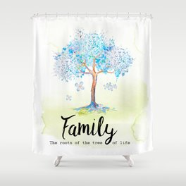 Family blue Shower Curtain