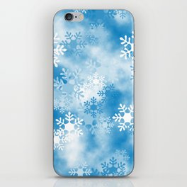 Christmas Elements Blue White Snowflakes Design Pattern iPhone Skin