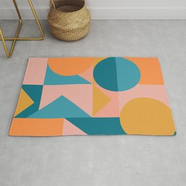 Colorful Geometric Abstraction in Blue and Orange Rug