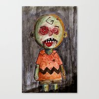 charlie brown Canvas Prints featuring You're a zombie Charlie Brown by byron rempel