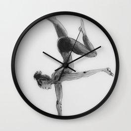 Yoga Girl, Yoga Illustration Print, Black White Home Decor, Girls Room Decor Wall Clock