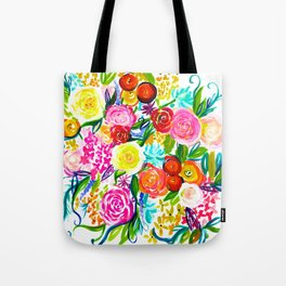 Bright Colorful Floral painting Tote Bag
