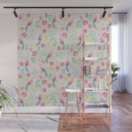 Watercolor Birds and Spring Flowers Wall Mural