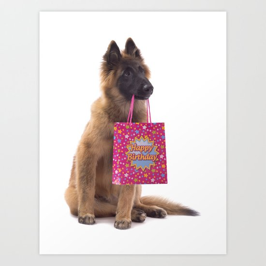 Birthday dog Art Print