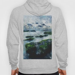 Blue sunset on the beach - watercolor Hoody