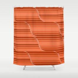 Geo Stripes - Rust Orange Shower Curtain