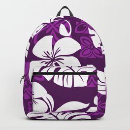 Purple & White Hibiscus Aloha Hawaiian Flower Blooms and Tropical Banana Leaves Pattern Backpack