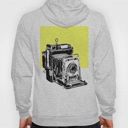 Vintage Graphex Camera pop art print in canary yellow Hoody