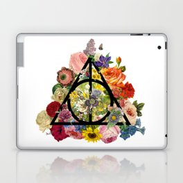 Floral Deathly Hallows - Black Laptop & iPad Skin