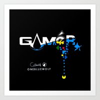 gamer Art Prints featuring Gamer by OneBlueWolf