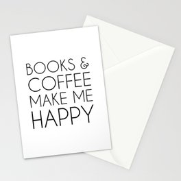 Books and Coffee Make Me Happy Stationery Cards