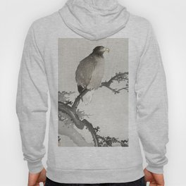 Eagle sitting on tree - Japanese vintage woodblock print Hoody