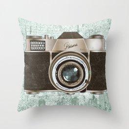 Green Vintage Camera Art Throw Pillow