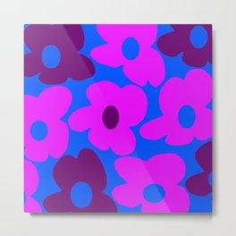 Large Pink and Purple Retro Flowers Blue Background #decor #society6 #buyart Metal Print
