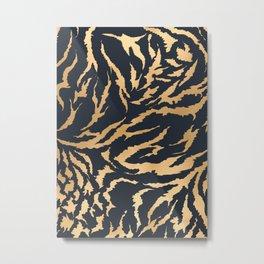 Tiger Fur Pattern (Navy & Gold) Metal Print