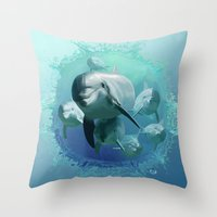 dolphins Throw Pillows featuring Dolphins by Lynne Hoad