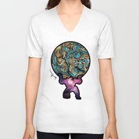 atlas V-neck T-shirts featuring ATLAS by Dani Herrera