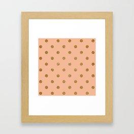 Burly Wood2 Gold Glitter Dot Pattern Framed Art Print