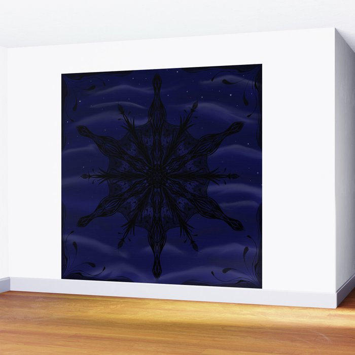 Gothic Snowflake Silhouette Wall Mural