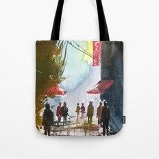 Walk through the street Tote Bag