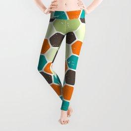 Retro Geometric Hexagons / Vintage Scratched Distressed Pattern Leggings