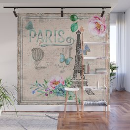 Paris - my love - France Nostalgy - pink French Vintage Wall Mural