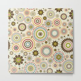 Vintage floral background with round flowers Metal Print