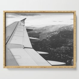 Mountain State // Colorado Rocky Mountains off the Wing of an Airplane Landscape Photo Serving Tray