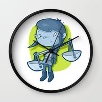 libra Wall Clocks featuring Libra by Chiara Zava