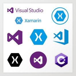 9 developers stickers in 1 visual studio code xamarin Art Print