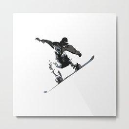 Snowboard Jumping Cartoon Metal Print