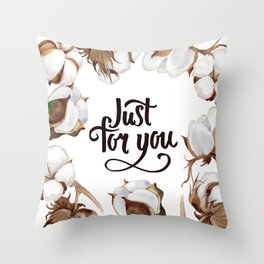 Cotton Flower Frame 02 Throw Pillow