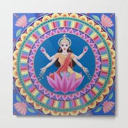 Goddess Lakshmi Lotus Mandala Metal Print